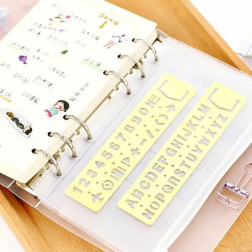 Vintage Portable Stainless Steel metal Good Letter Stencils Hollow Rulers Planner  Diary Notebook DIY Tool Template Stationery