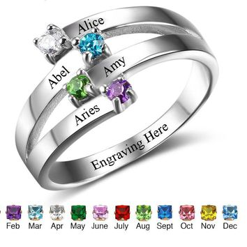 925 Sterling Silver 4 Names 4 Cubic Zirconia birthstones and personalized inside of the ring Mothers Ring