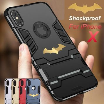 Batman Dark Knight gift Christmas JAMULAR 360 Full Protection Stand Cases For iPhone 8 7 X 6 6s  Anti Knock Mobile Phone Cover For iPhone 7 Batman Armor Fundas AT_71_6