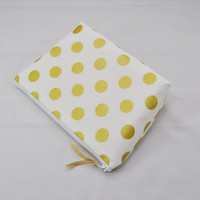 Gold polka dot bag, on white cosmetic case, makeup bag, zipper pouch, clutch, travel toiletry tote