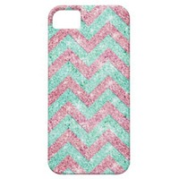 Chevron Pattern, pink & teal glitter photo print iPhone 5 Cases from Zazzle.com