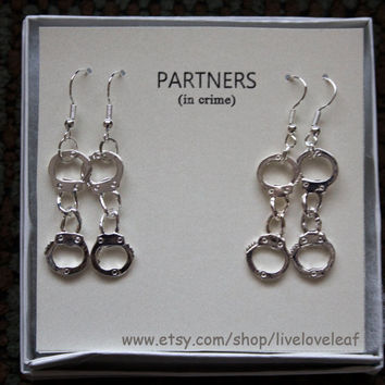 Partners in crime matching Earrings sets - 2 sets of Silver Handcuffs Earrings, BFF jewelry, Sisters,