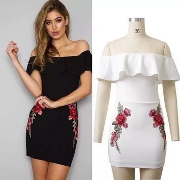Womens Beautiful Ruffle Off Shoulder Flower Design Dress