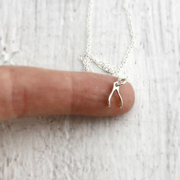 Tiny Wishbone Necklace Silver Wishbone Necklace Wishbone Gifts Under 20 Luck Necklace Sterling Silver Good Luck Gifts Wishbone Pendant MS010