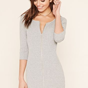 Zipper-Front Bodycon Dress