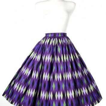 Jenny Skirt in Purple and Green Harlequin Print