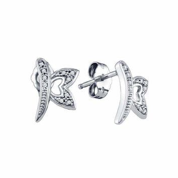 10kt White Gold Women's Round Diamond Butterfly Bug Earrings 1-20 Cttw - FREE Shipping (USA/CAN)