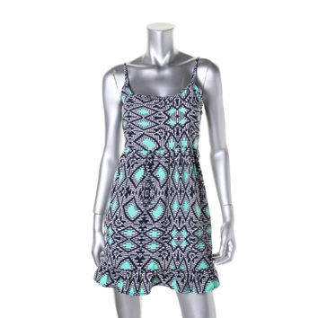 One Clothing Womens Juniors Printed Ruffled Babydoll Dress