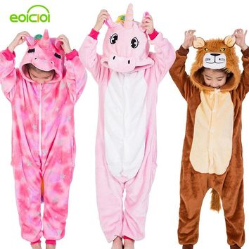 Flannel Kids Animal Pajamas For Boys Girls Cute Unicorn Lion Pegasus Cosplay Winter Hooded Children Sleepwear Christmas Pyjamas