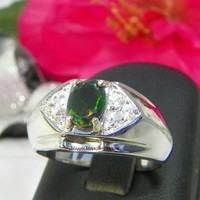 Gents Ethiopian Black Opal Jewelry Ring, Welo Black Opal Wedding Ring | MaggieMays - Jewelry on ArtFire