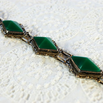 Vintage Mexican Sterling Silver Bracelet, Green Faceted Glass Geometric Stones, Ornate Spiral Beadwork, 1940s Jewelry, Gift for Her