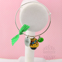 St. Patrick's Day bangle, pot of gold cupcake, st patty's day jewelry, st patricks day accessories, kawaii cupcake charm, lucky charm