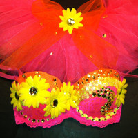 EDC rhinestone & daisy Rave Hippie costume dance by 2girls2Tus