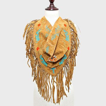 3-way Day Of The Dead Mexican Sugar Skull Suede Fringe Scarf