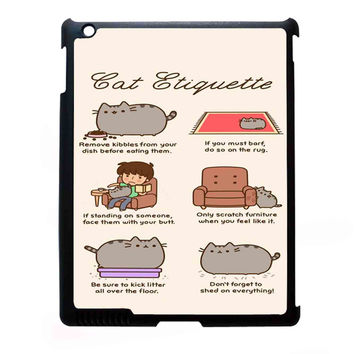 Pusheen cat cat etiquette FOR IPAD 2/3/4 CASE *07*