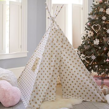 Gold Metallic Dot Mini Teepee | Pottery Barn Kids