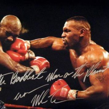 ONETOW Mike Tyson Signed Autographed 'The Baddest Man On The Planet' Glossy 16x20 Photo vs. Evander Holyfield (ASI COA)