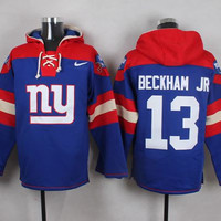 Giants #13 Odell Beckham Jr Pullover Hoodie - Royal Blue