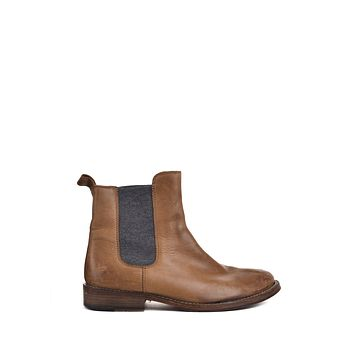 Brunello Cucinelli Womens Distressed Brown Chelsea Ankle Boots