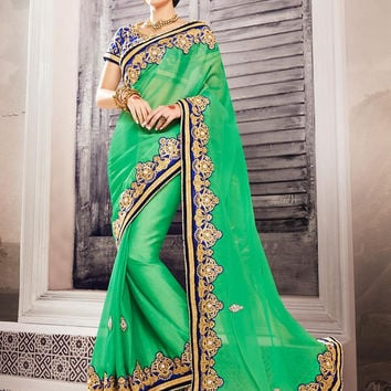 Georgette Based Embroidered Pattern Saree Lime Green Color