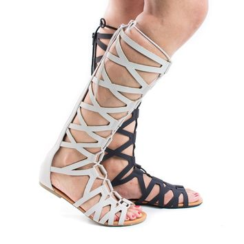 Ranger Black By Soda, Knee High Open Toe Gladiator Cut Out Lace Up Flat Trendy Sandals