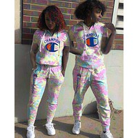 '' Champion '' Women Fashion Casual Pattern Letter Print Short Sleeve Set Two-Piece pink