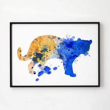 Animal watercolor Lion decor Wildlife art EM138