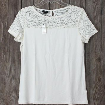Cute New Talbots Ivory Lace Top MP Size Womens Career Casual & Stretch
