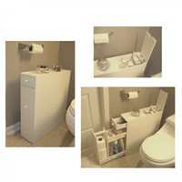 "Brighton Bathroom Cabinet (White) (19.75""H x 6.25""W x 22.75""D)"