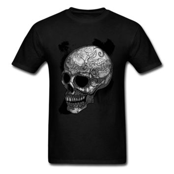 Mexican Skull Print T-shirt Men Pure Cotton O-neck T Shirt Tribal Pattern