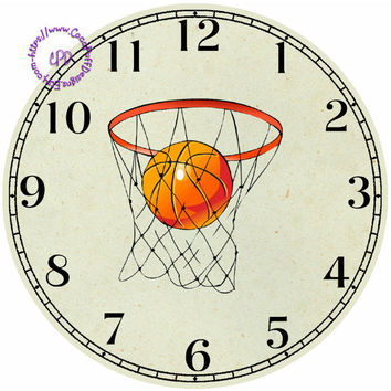 """Basketball Sports Art - -DIY Digital Collage - 12.5"""" DIA for 12"""" Clock Face Art - Crafts Projects"""