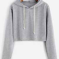 Pale Grey Drawstring Hooded Crop SweatshirtFor Women-romwe