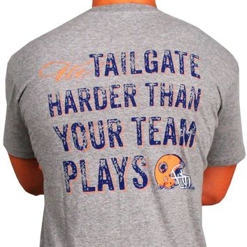 Tailgate Harder Tee in Grey with Orange Helmet by Southern Proper