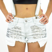 Rock Me Baby Sequin Shorts & Suspenders