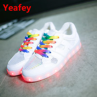 YEAFEY Glowing LED Illuminated Women's Leather Casual Tennis Shoes