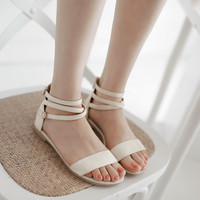 Genuine Leather Covered Heel Straps Flats Sandals 8982