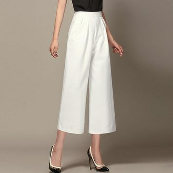 OL Women Slacks High Waist Wide Leg Pants Female Loose Casual pants Trousers Ankle Length Capri Pants