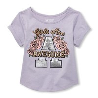 Baby And Toddler Girls Short Roll Sleeve Embellished Graphic Top