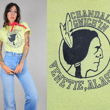 """vtg paper THIN native American INDIAN 80's T-shirt graphic novelty """"Venetie, Alaska"""" faded worn-in"""