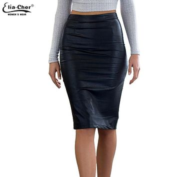 2017 Promotion Autumn Work Office Faux Leather Pu Pencil Skirts Women Casual Plus Size Skirt Clothing Elegant Sexy Midi Sheath