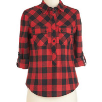 ModCloth Rustic Mid-length 3 Path, Present, and Future Top in Red