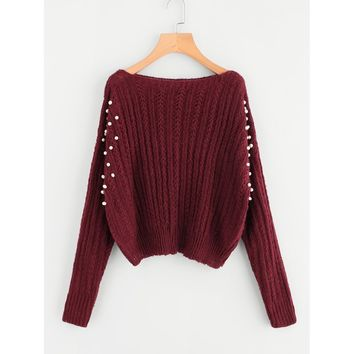 Pearl Embellishing Mixed Knit Jumper Burgundy