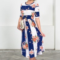 Navy Lou Floral Midi Dress