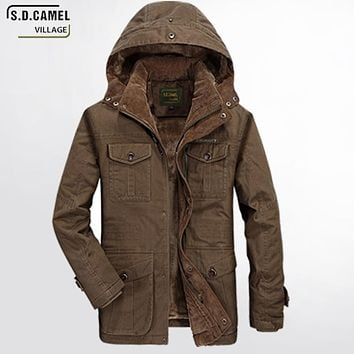 Casual Men Winter Coat Hoodie Military Field Jacket Jacket Men Thickened Warm Cotton Jean Military Jackets Plus Size 4XL