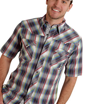 ROPER MENS 9536 CRAYON DOBBY PERFORMANCE NONE SHORT SLEEVE SHIRT SNAP CLOSURE - 2 POCKET