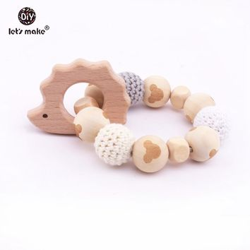 Let's Make Beech Hedgehog Crochet Beads Bracelets Rattles Sensory Baby Play Gym Nursing Accessories Stroller Baby Toys Rattles
