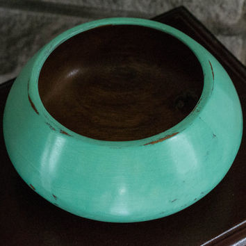 Hand Painted Retro blue/Green Wooden Bowl
