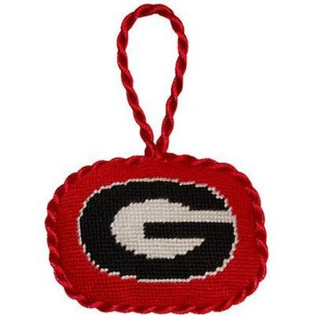 Georgia Needlepoint Christmas Ornament in Red by Smathers & Branson