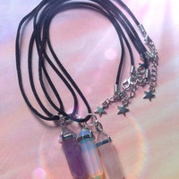 Crystal point necklace on black cord Amethyst, Opalite Rose Quartz