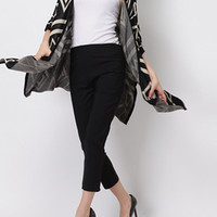 Black Geometric Knitted Cardigan